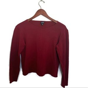 Eileen Fisher Red Top Made With Italian Fabric